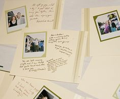 Guest book photo idea! Guests can sign a page each when they go get photo booth photos, we can print later and attach and bind :)