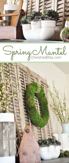Top 19 Easter & Spring Interior Mantel Decor Easy Design For Cheap Party Project - Way To Be Happy Custom Woodworking, Woodworking Projects Plans, Moss Wreath, Shabby, Spring Crafts, Decoration, Simple Designs, Farmhouse Decor, Diy Projects