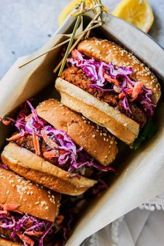 Spiced Lentil Burgers with Tahini Slaw (Vegan) Vegan Coleslaw vegan slaw for burgers Lentil Recipes, Vegetarian Recipes, Cooking Recipes, Healthy Recipes, Vegetarian Junk Food, Healthy Junk Food, Mushroom Recipes, Vegan Meals, Vegan Food