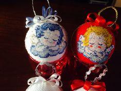 Palline per albero di natale a punto croce, angeli - cross stitch, Christmas decorations, angels