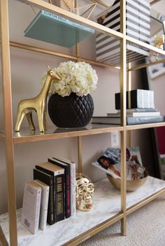 These 22 Ikea DIY hacks are seriously genius! I've been needing some cheap ways to dress up my furniture and this has definitely helped A LOT! There is everything here from dressers to desks, to baby changing tables! Ikea Bookcase, Ikea Shelves, Bookshelf Ideas, Ikea Shelf Hack, Shelving Ideas, Room Shelves, Gold Bookshelf, Bookshelf Styling, Bookcases