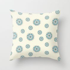 Blue and Black Floral Throw Pillow by Amy Newhouse - $20.00