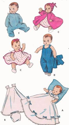 Vintage Doll Clothes PATTERN 8800 for 8-9 inch Baby Dolls Tiny Tears Betsy Wetsy