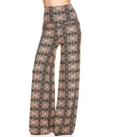 Loving this Black & Pink Abstract High-Waist Palazzo Pants on #zulily! #zulilyfinds