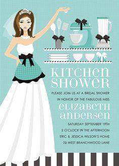 Kitchen Bride Blue Bridal Shower Invitation