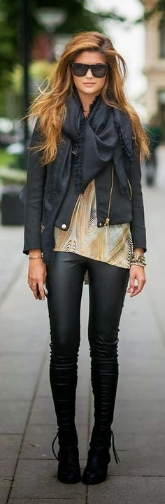 Leather Tights With Black Jacket,Scarf and Shades