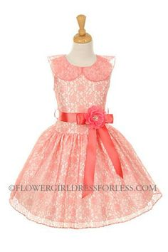 Girls Dress Style 1172 - Sleeveless Lace Dress in Choice of Color
