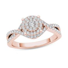 1/2 CT. T.W. Composite Diamond Frame Crossover Engagement Ring in 14K Rose Gold - Gordon's Jewelers