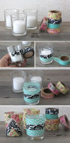diy projekte Washi Tape DIY Projects Lots of Ideas amp; Including these washi tape candle votives from I spy diy. Diy Candle Holders, Diy Candles, Candle Jars, Candle Gifts, Cup Holders, Mason Jars, Cute Crafts, Crafts To Make, Teen Crafts