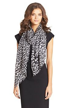 Kenley Woven Cashmere Scarf In Spotted Cat Luxe Neutral