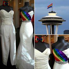 HAPPY PRIDE DAY SEATTLE!!  #cicadabridal #yourdressmadehere #seattlebrides #seattlepride #seattlepride2017 #pride2017 #mrsandmrs #mrandmr #lgbtq #welove #wesupport #loveislove #lovewins #equality #rainbow #rainbowbowtie #rainbowdress #silk #rawsilk #pantsuit #corset #corsetbodice #pleats #pleatedbodice #sweetheart #sweetheartneckline #mermaid #weddings #happinessforall #paintthetownrainbow