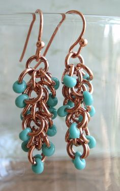 Raw Copper Earrings Turquoise Beads Shaggy Loops by cutterstone, $15.00