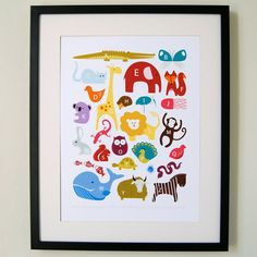 Great idea for kid's room....I like how it is in a frame.  Animal Alphabet Print poster - A3