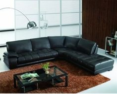 Italian leather Sectional with Polished Oak Legs