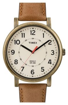 Timex® Antiqued Case & Leather Strap Watch, 42mm | Nordstrom