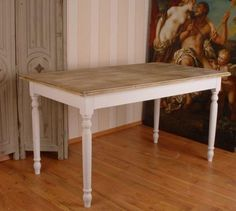 TABLE REPAS EN BOIS MASSIF STYLE SHABBY CHIC CAMPAGNARD COTTAGE BAROQUE