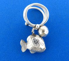 Vintage Sterling Silver Chinese Goldfish Bell Ring Size 7 #unknown