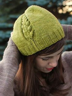 "@Malabrigo Worsted Merino ""Perennial"" Hat Kit. Designed by Never Not Knitting, the single sprouting motif reflects new spring growth!  Knit it with one skein and size 7 and 8 needles.  http://www.jimmybeanswool.com/knitting/yarn/Malabrigo/WorstedMerino.asp"