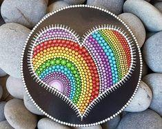 Heart Chakra Mandala Art Painting - Dot Art Love Painting - Hand-Painted Meditation Mandala Rock - Home Decor - Rainbow Heart Painting