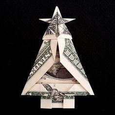 Click the link for more Origami Fun Origami Christmas Tree, Christmas Tree Art, Miniature Christmas Trees, Holiday Crafts, Christmas Crafts, Dollar Origami, Money Origami, Paper Crafts Origami, Origami Gifts