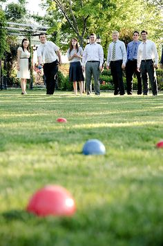 Guests challenged each other to a game of bocce.