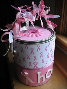Altered Breast Cancer Paint Can - Two Peas in a Bucket