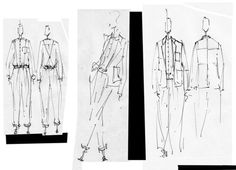 Illustration of waiters outfits for a project called The Blocks by studio Toogood.