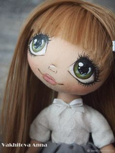 """Купить Школьница """"Ариша"""" - серый, Декор, интерьер, подарок, коллекционная кукла, текстильная кукла....(the eyes have it!!)...."""