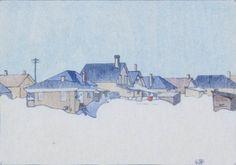 "Walter J. Phillips, ""A Winnipeg Street"", 1927, colour woodblock print.  After a Winnipeg Snow Storm"