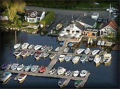 Knowlton Marina, original marina known as Benoit's Boathouse. Boathouse, Romantic Getaway, Under Construction, Lighthouses, Canada, Real Estate, Real Estates, Boat Dock, Lighthouse