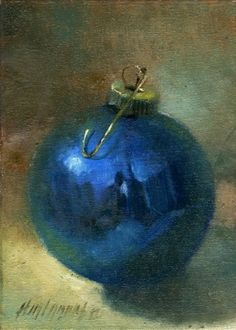 Blue Christmas Ornament painting by artist Hall Groat II Christmas Artwork, Christmas Paintings, Blue Christmas, Christmas Ornaments, Xmas, Vintage Christmas, Painting Still Life, Still Life Art, Art For Art Sake