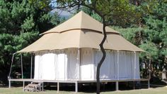 Traditional fabrics used in a modern glamping tent Tree House Deck, Home Stretch, Fabric Structure, Traditional Fabric, Glamping, Wonders Of The World, Gazebo, Safari, Tent