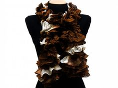 Hand knitted brown white ruffled scarf by arzus on etsy, $19.90