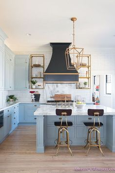 Blue and brass accent kitchen