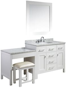 Want a double sink vanity with actual seat either between sinks or ...
