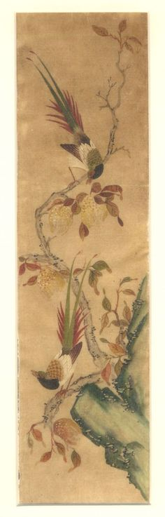 (Korea) Flowers and Birds by Lady Shin Saimdang (1504-1551). color on silk. Joseon Kingdom, Korea. 50× 156 cm.