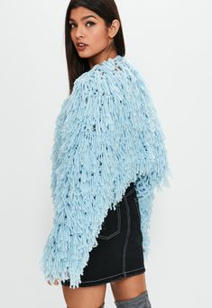 Cropped Cardigan, Knit Cardigan, Fringe Jacket, Winter Warmers, Pastel Blue, Shaggy, Missguided, Knitwear, Cap