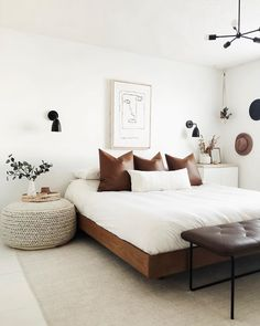 Elegant Home Interior Bed frames can be equal parts simple and elegant. The Basi bed is proof. Photo by Frankie and Grae. Home Interior Bed frames can be equal parts simple and elegant. The Basi bed is proof. Photo by Frankie and Grae. Home Bedroom, Light Bedroom, Guy Bedroom, Bench In Bedroom, White Bedroom Walls, Artwork For Bedroom, Zen Bedrooms, Ladies Bedroom, Peaceful Bedroom