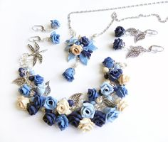 Floral Polymer clay jewelry Blue Rose Set Great by PommeDeNeige