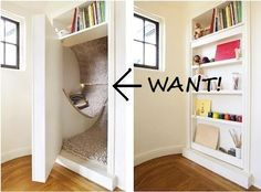 10 Kick-Ass Secret Passage Bookshelves This kid's bookshelf opens to a secret reading nook. A SECRET READING NOOK. I would've never left. (from Everything About Secret Bookcase Doors) Bookshelf Door, Bookshelves, Room Interior, Interior Design Living Room, Interior Decorating, Reading Nook Kids, Closet Reading Nooks, Hidden Spaces, Hidden Rooms In Houses