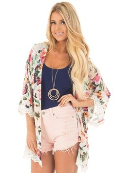 Cream Floral Kimono with Ivory Crochet Trim front close up
