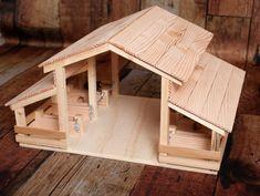 Establo de juguete de madera hecho a mano con 8 puestos