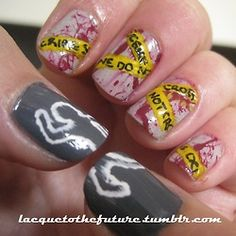 These nails combine two of my obsessions (manicures and procedural crime dramas): CSI nails! Blood spatter with crime scene tape and then a body outline (is there a more technical word for this?) on the thumbs. Cool Nail Art, Halloween Nails, Halloween Nail Designs, Diy Halloween, How To Do Nails, Holiday Nails, Fall Nails, Cute Nails, My Nails