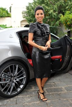Eva Longoria Leather Dress - Eva Longoria was rocker-glam at the Taormina Film…
