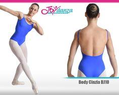 Body danza con bretelline, scollatura posteriore profonda ad evidenziare la schiena e cuciture frontali verticali. Fodera interna anallergica.