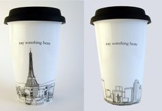 Skyline travel coffee mugs. Choose from 6 cities, add a name or personal message, $25