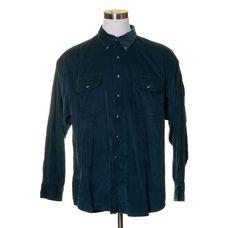 Vtg ROUNDTREE & YORK Dark Blue Spruce Forst Green CORDUROY Button Shirt 2X BIG #RoundtreeYorke #ButtonFront