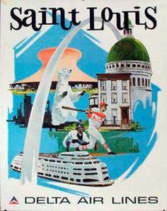 Vintage advertisement for St. Louis, via Delta Airlines.