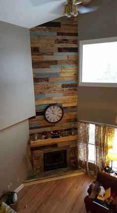 Wood Pallet Recycling Ideas: Through pallet and from your talent you can make a lot of things for your daily routine work like Wooden table, Pallet TV stands with shelves, easy chair with nice and unique handle. Pallet Fireplace, Reface Fireplace, Reclaimed Wood Fireplace, Wood Fireplace Surrounds, Simple Fireplace, Pallet Walls, Home Fireplace, Fireplace Remodel, Fireplace Design