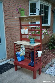 BEFORE & AFTER: Repurposed Potting Bench (From a Toddler Bed) - Thrift Diving